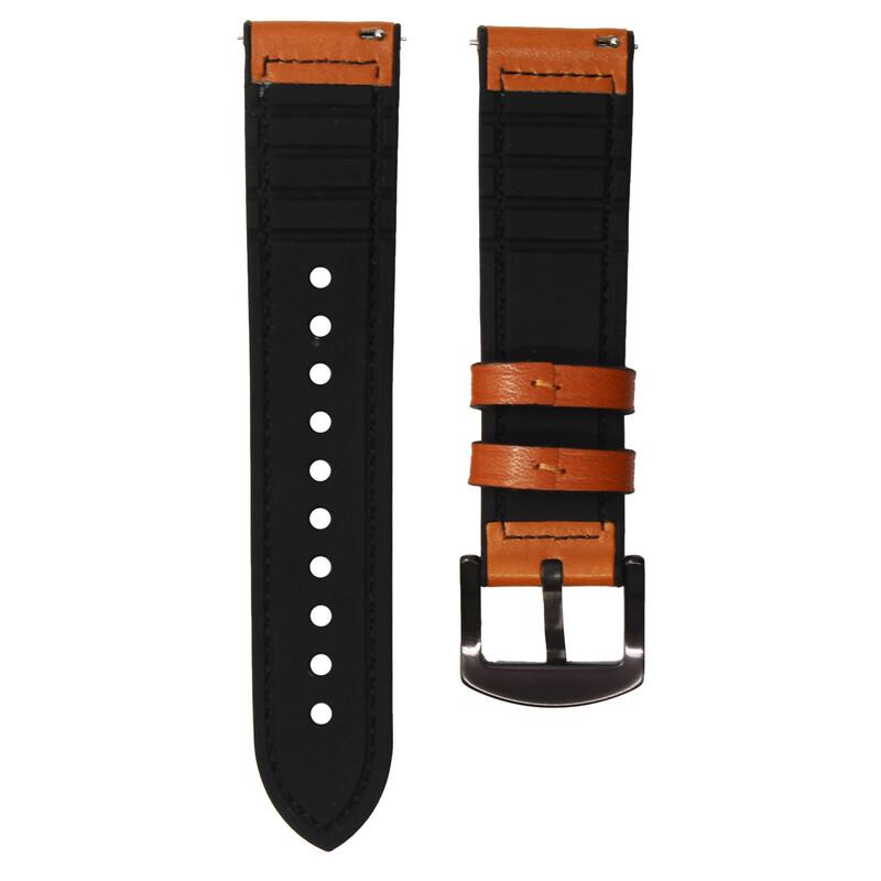 Mika Uhrenarmband Uni 22mm Silikon + Echtleder schwarz