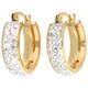 Edelstahlcreole goldfarben/silber Kristalle