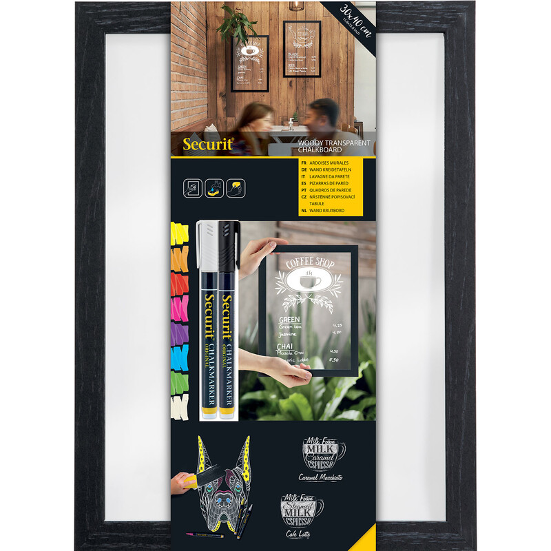 Securit Woody Wandtafel 40x30 Glas inkl. 2 Kreidestifte