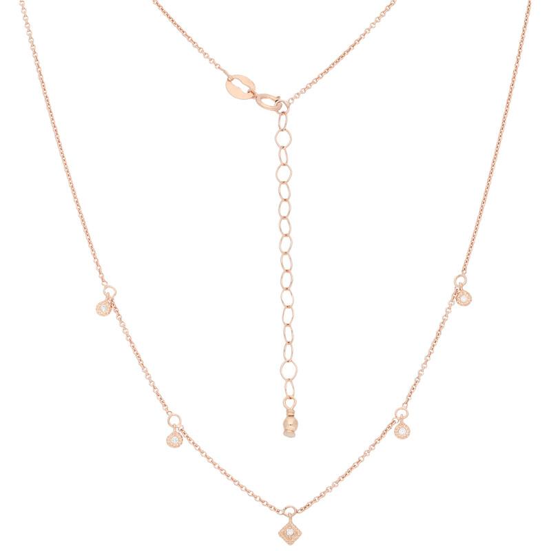 Halskette 5 Charms rosevergoldet echt Silber