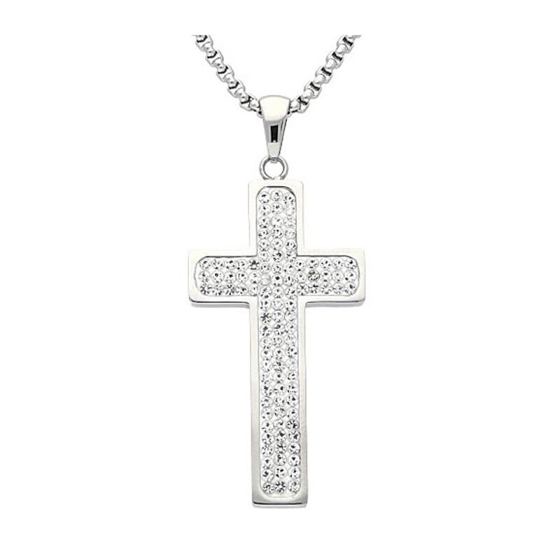 Edelstahlkette Kreuz Kristalle