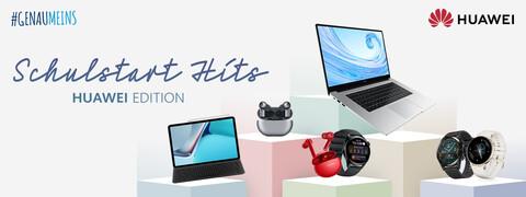 Schulstart-Produkte aus der Huawei Edition wie Tablets, Laptops, Freebuds und Smartwatches auf pastellfarbenen Podesten