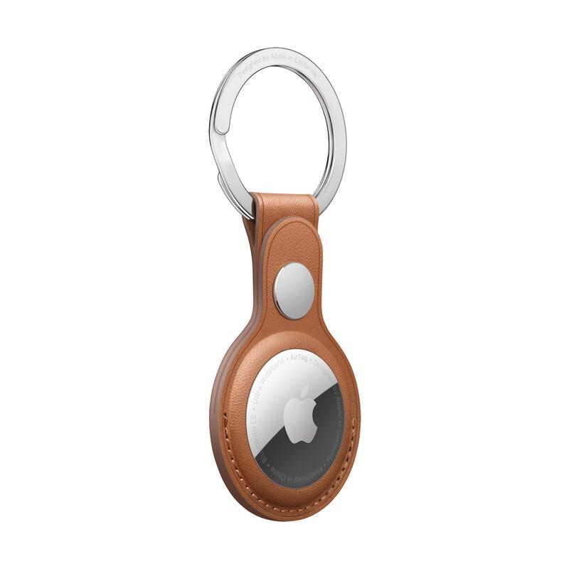 Apple AirTag Schlüsselanhänger Leder sattelbraun