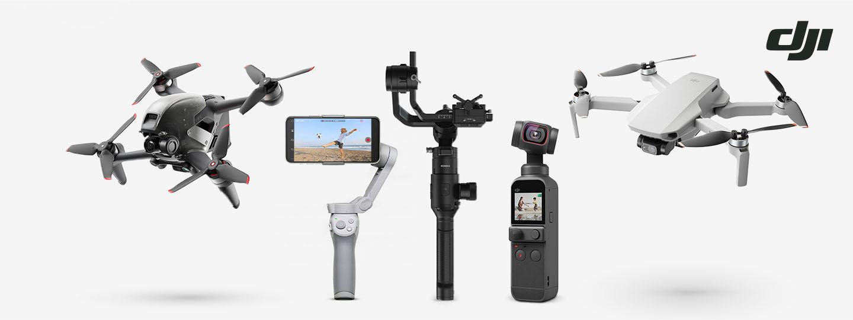 verschiedene Drohnen und Gimbals von DJI