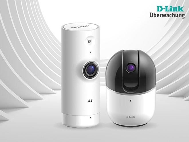 zwei futuristisch aussehende smarte Überwachungskameras auf weißem Hintergrund