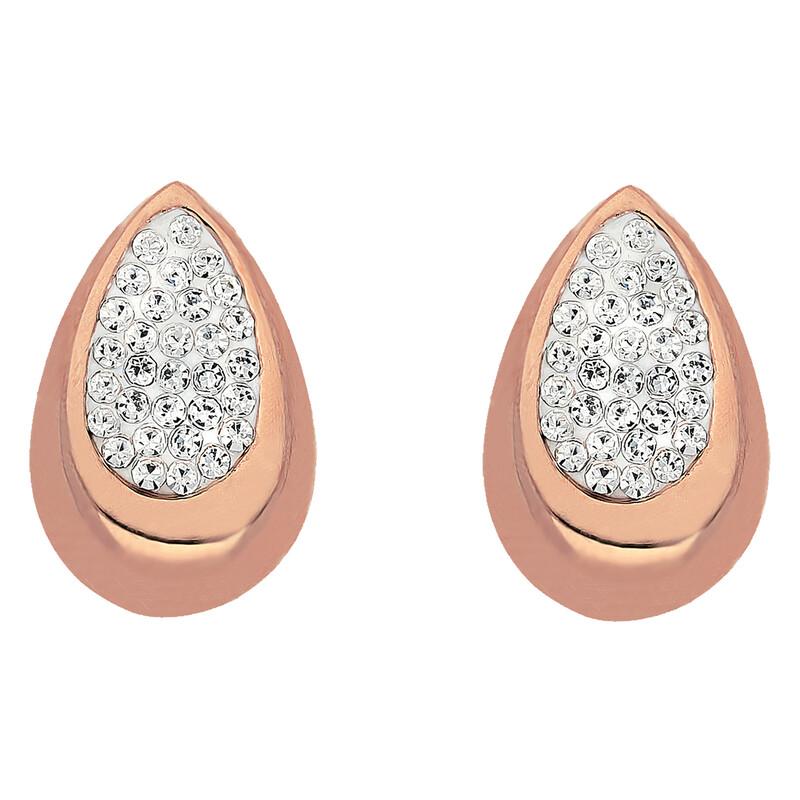 Edelstahlohrstecker Tropfen roséfarben Kristalle