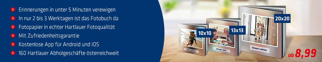 Vorteile des Hartlauer Ruck Zuck Fotobuchs auf einen Blick
