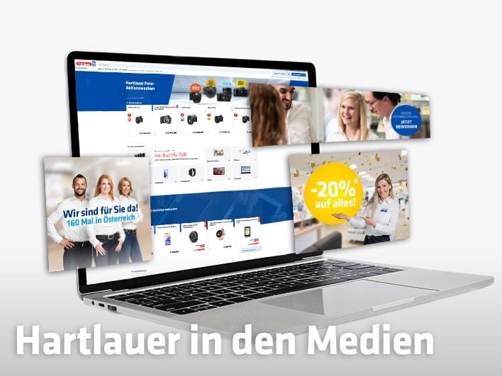 geöffneter Laptop mit Hartlauer Website am Bildschirm plus weiteren Ebenen mit Website-Elementen