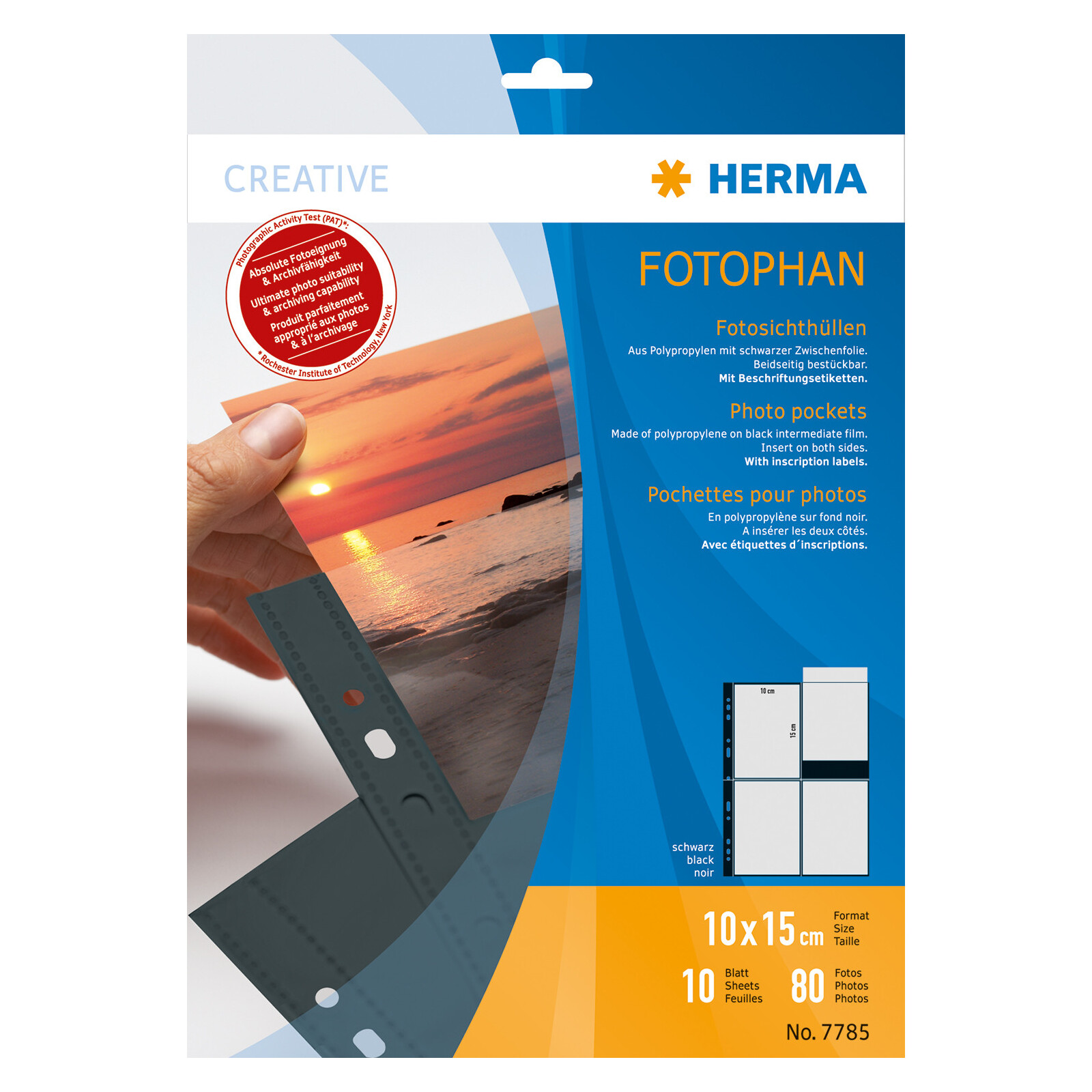 Herma 7785 Fotophan 10x15 hoch schwarz