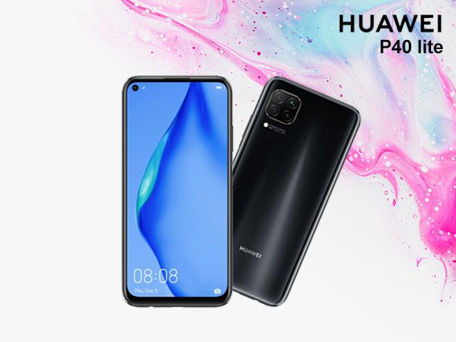 zwei Huawei P40 lite in Vorder- und Hinteransicht auf einem pink und blau marmoriertem Hintergrund