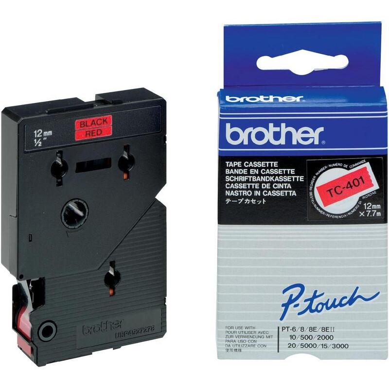 Brother TC401 Schriftband  rot/Sw 12mm