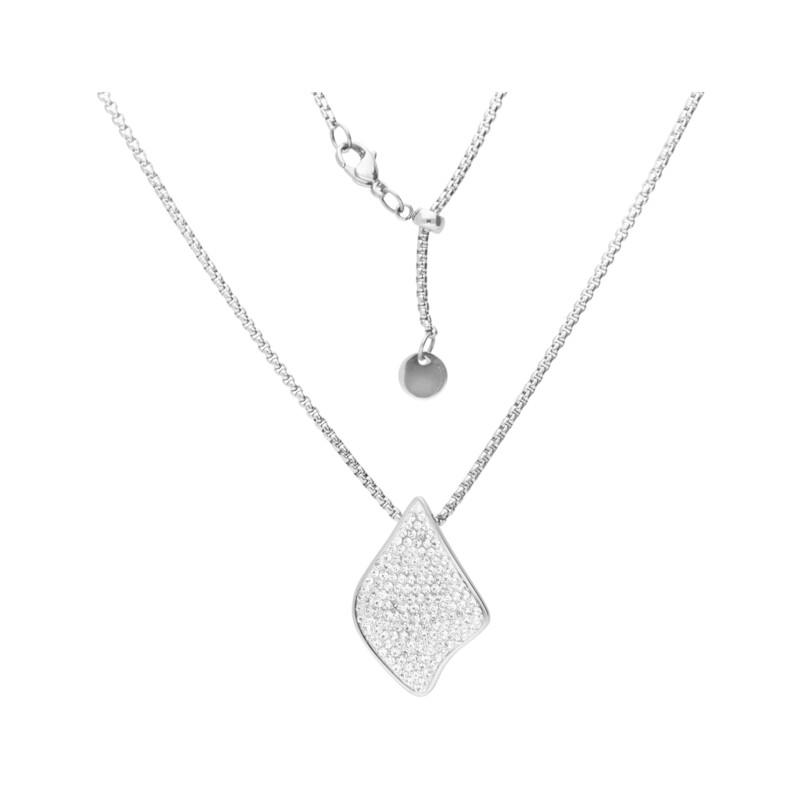 Edelstahlkette Kristalle Blatt Silber