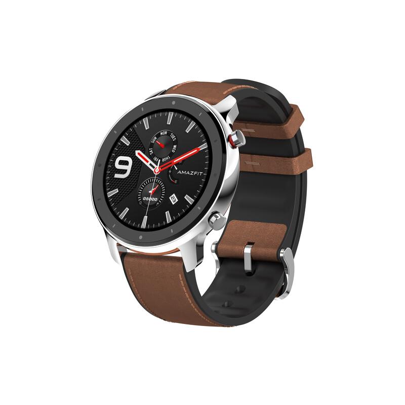 Huami Amazfit GTR 47mm Edelstahl mit Leder Armband