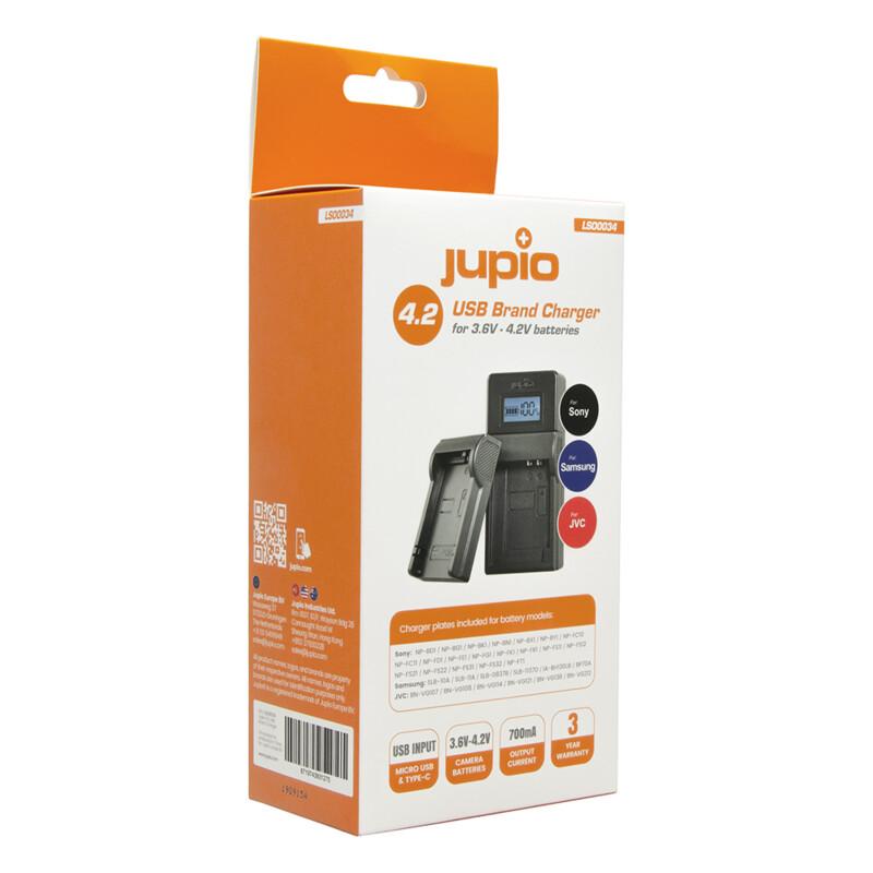 Jupio Brand Charger für Sony, Samsung, JVC 3.6-4.2V