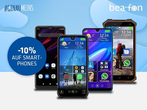 verschiedene Beafon Handys und Smartphones auf blauem Hintergrund mit Beafon-Logo und Hashtag Genaumeins