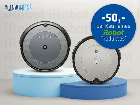 zwei iRobot Roomba Staubsaugerroboter auf zweigeteiltem Podest mit 50,- Rabattinfo