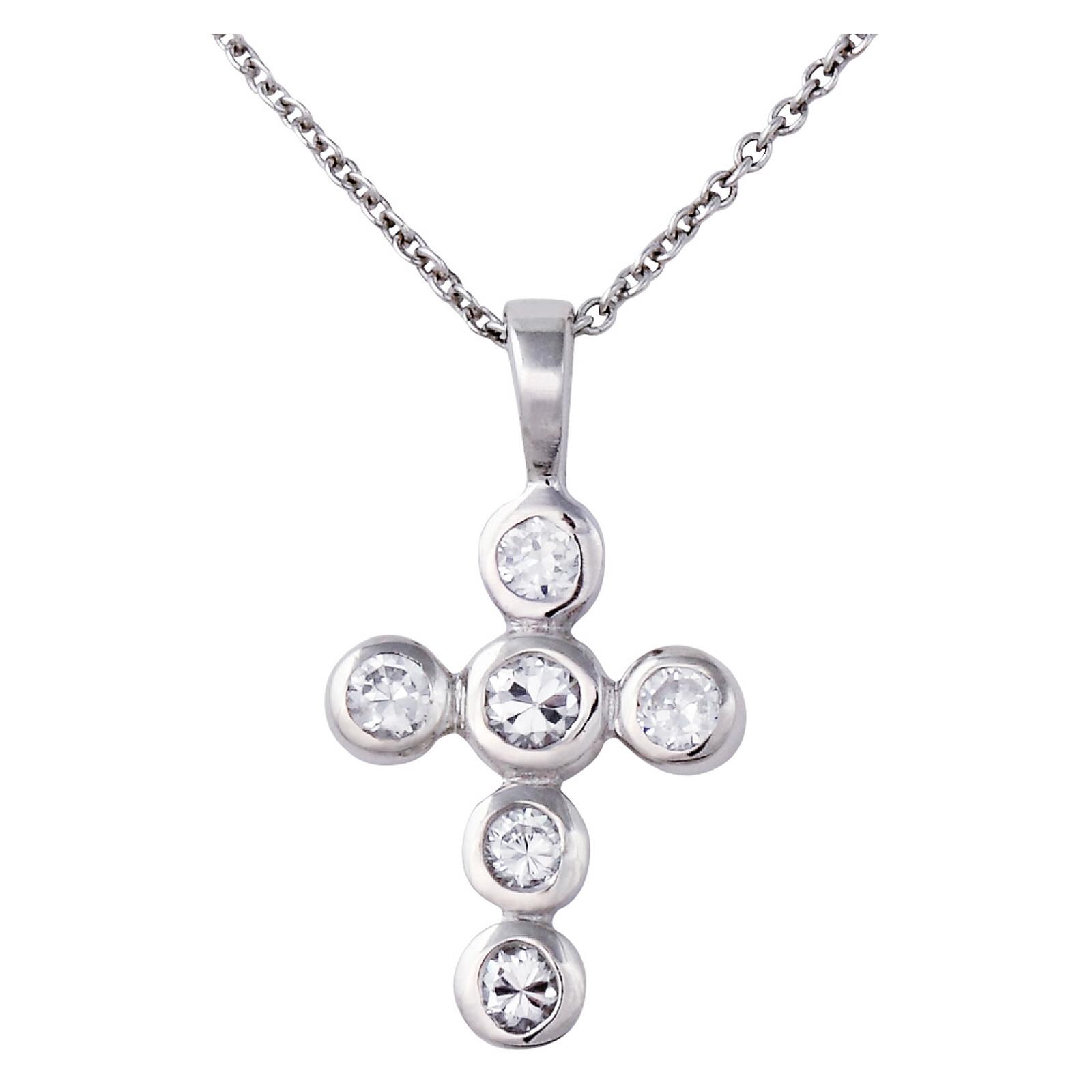 Kette Zirkonia mit Kreuzanhänger Silber