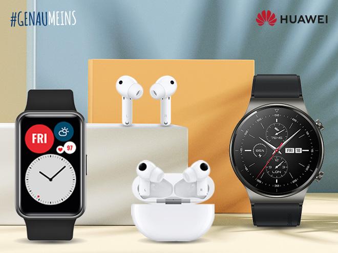 Smartwatch, zwei Modelle In-Ear-Kopfhörer und Sportuhr von Huawei in 3D-Kulisse mit farbigen Elementen