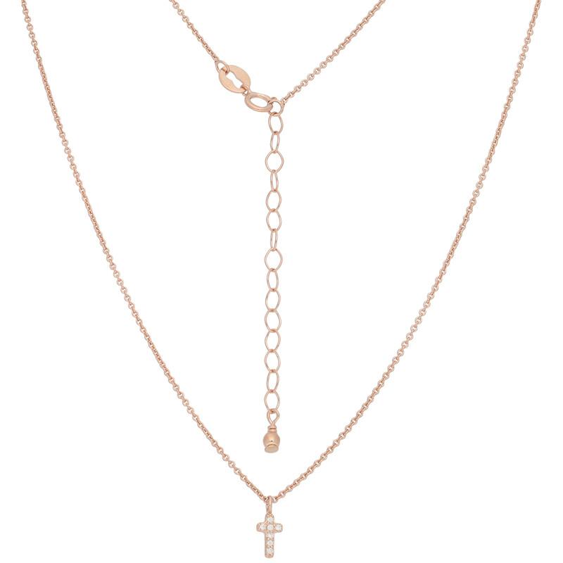 Halskette Cross rosevergoldet echt Silber