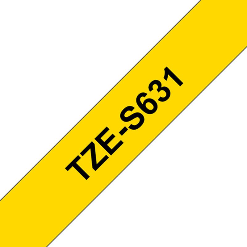 Brother TZE-631 Schriftband gelb/schwarz 12mm
