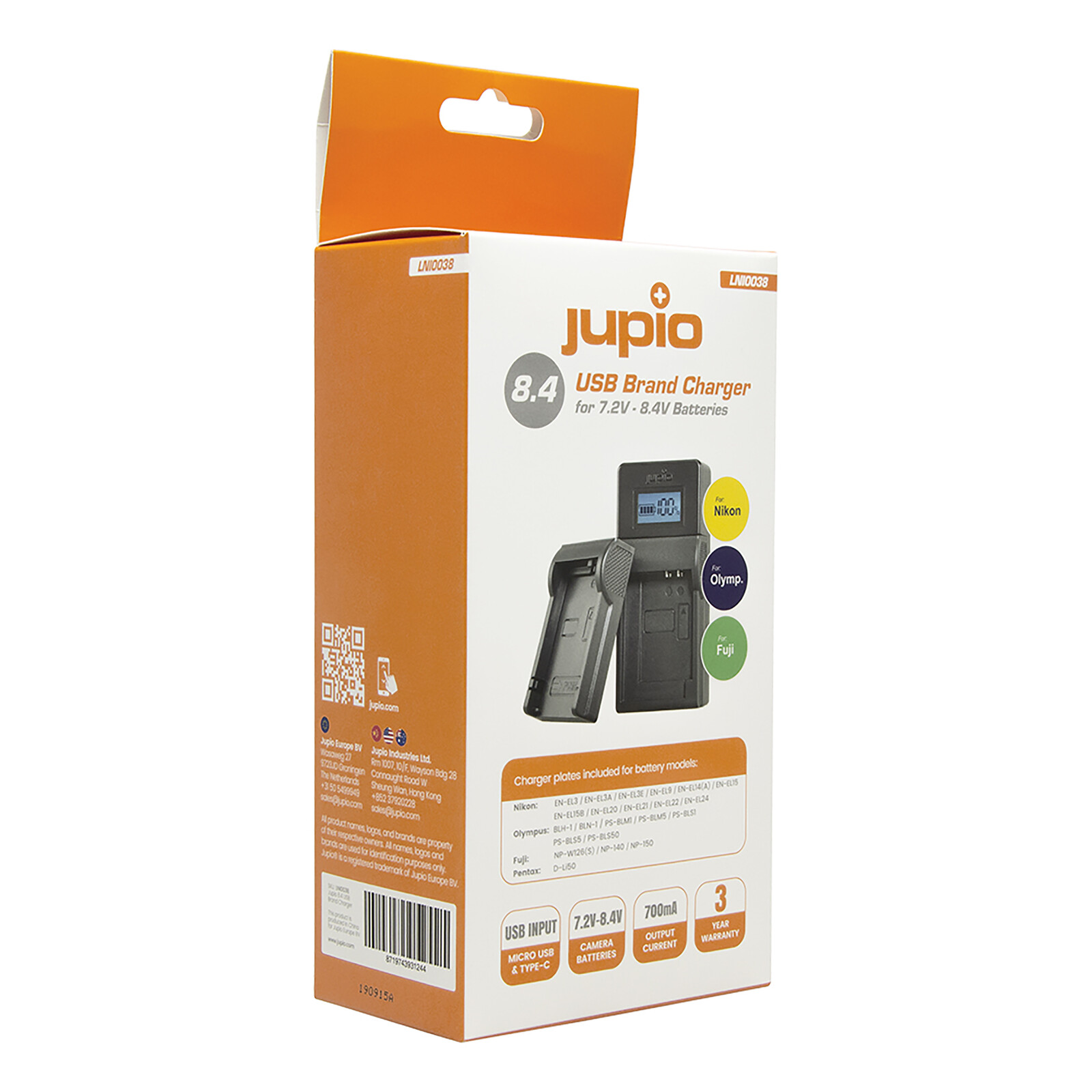 Jupio Brand Charger für Nikon, Fuji, Olympus 7.2-8.4V