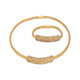 Edelstahlset Kristalle Kette und Armband Gold