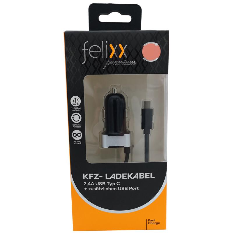 Felixx KFZ-Lader USB-Typ-C+USB Port 150cm