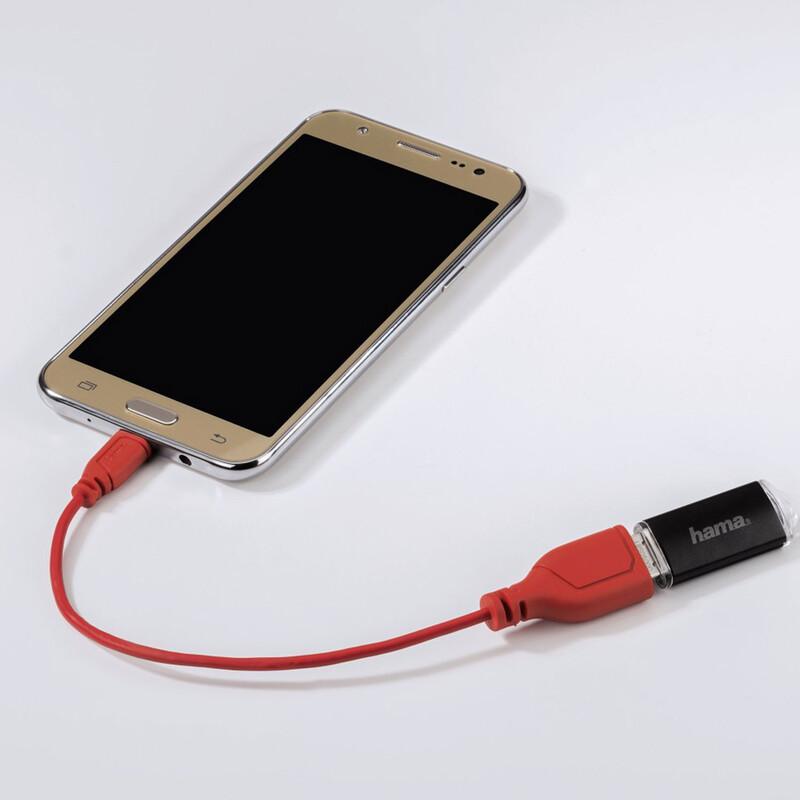 Hama 135705 Micro-USB-OTG-Adapterkabel Flexi-Slim 0,15m rot