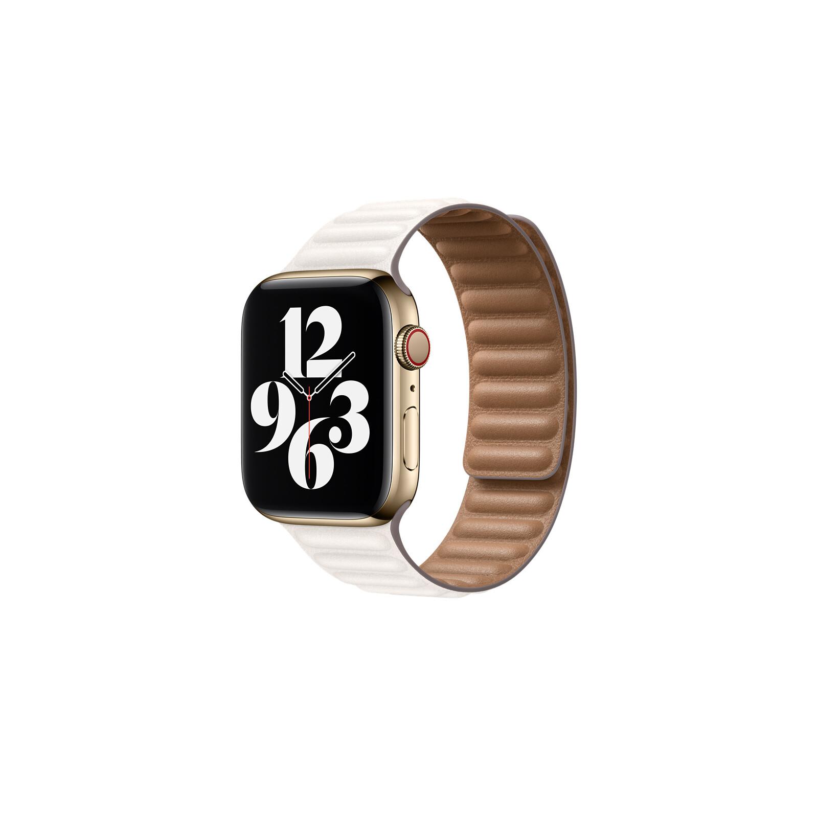 Apple Watch 44mm Lederarmband mit Endstück kreide klein