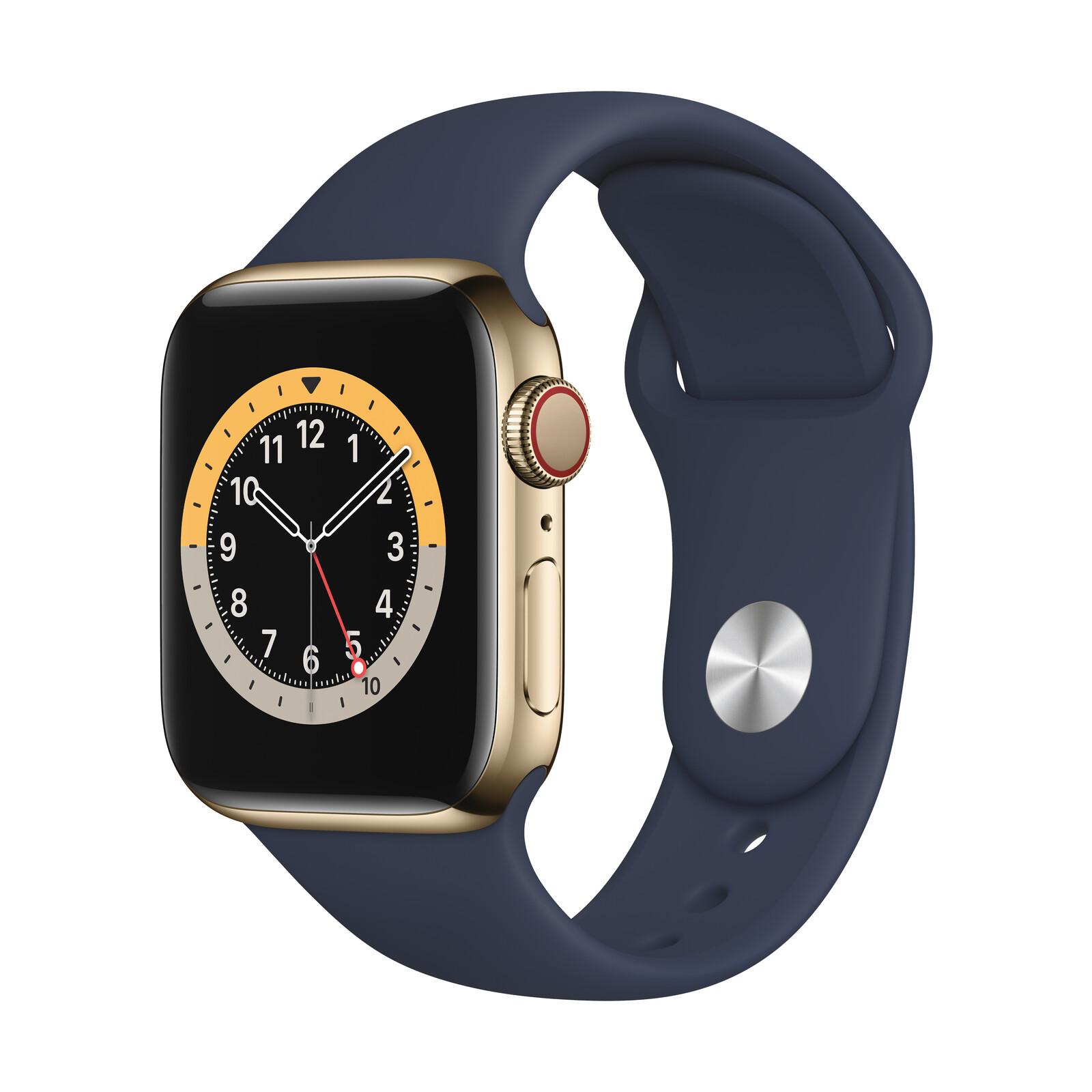 Apple Watch S6 GPS+Cellular Edelstahl gold 40mm dunkelmarine
