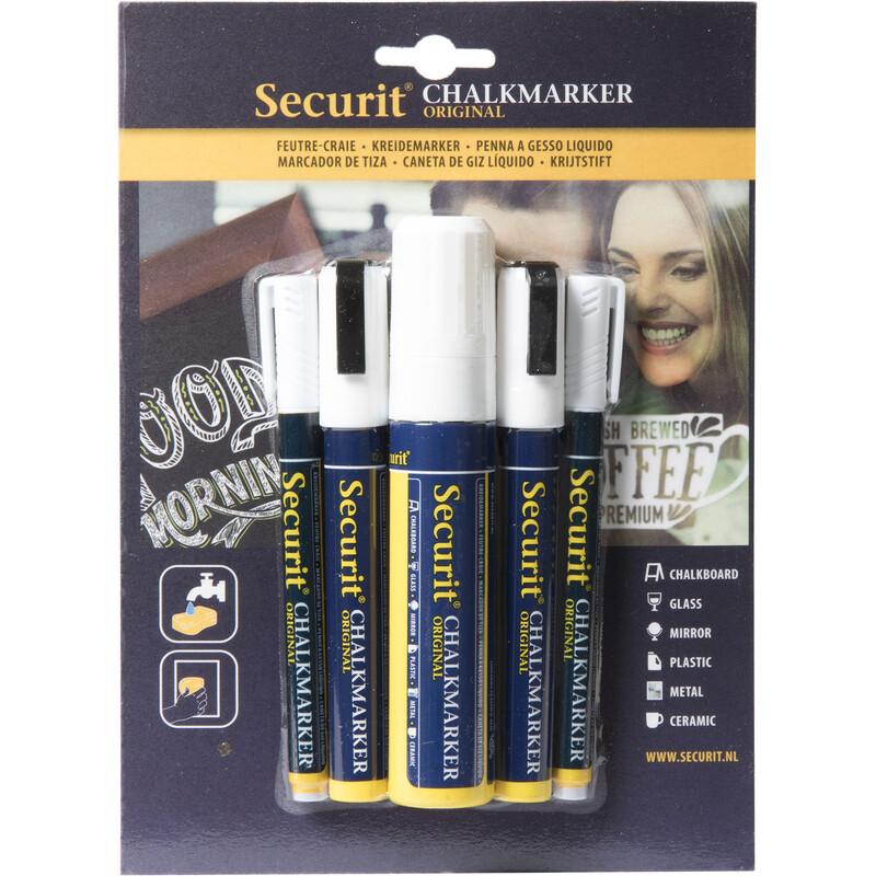 Securit Kreidestifte 5er weiß (2x1-2mm, 2x2-6mm, 1x7-15mm)