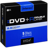 Intenso DVD+R 8,5GB/8f Double Layer Jewel Case 5er