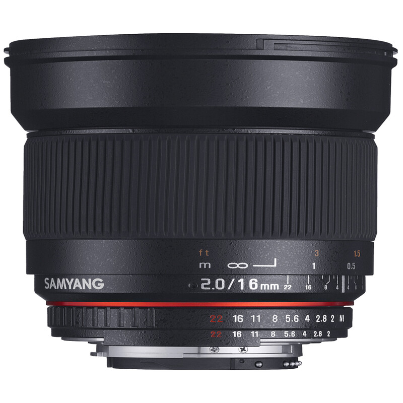 Samyang MF 16/2,0 APS-C Nikon F AE + UV Filter