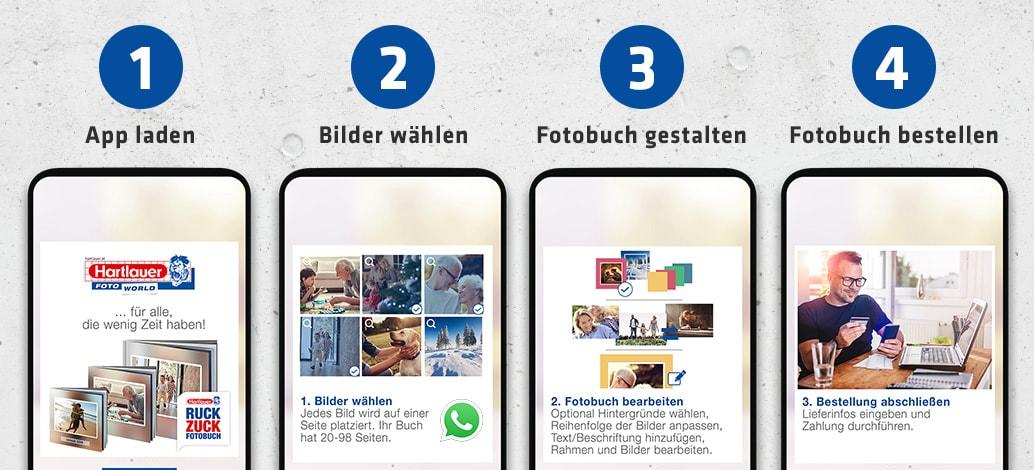 Schritt-für-Schritt-Anleitung für Hartlauer Ruck Zuck Fotobuch-Gestaltung mit Handyfotos