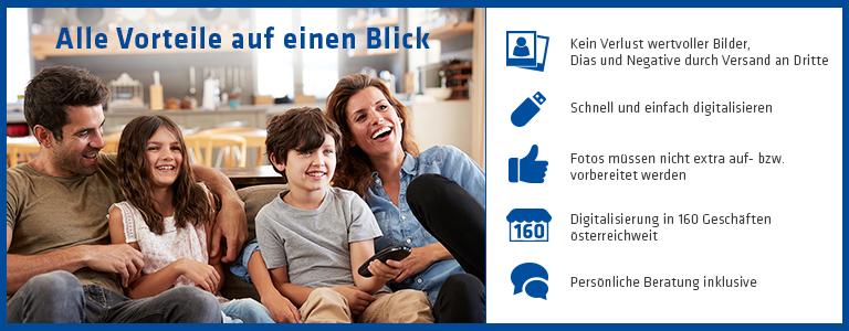 Vierköpfige Familie, Überblick über die Vorteile des Hartlauer Digitalisierungsservices