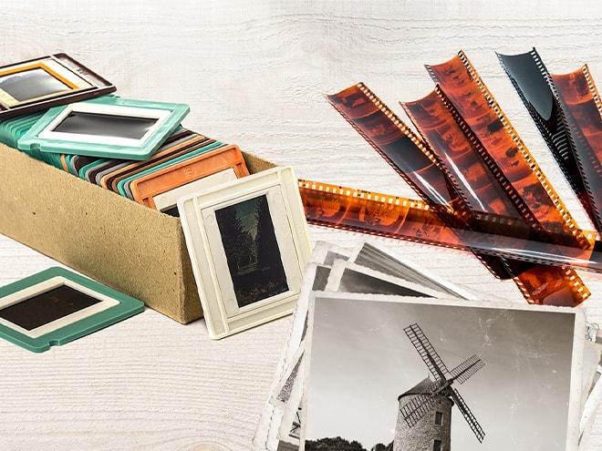 alte Foto-Dias, Aufnahmen in Schwarz-Weiß und mehrere Fotofilm-Streifen