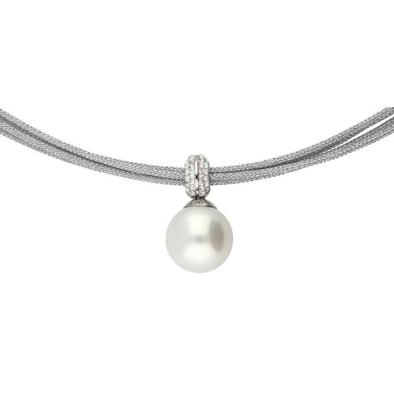 Edelstahlcollier 5-reihig Kristalle und synthetische Perle