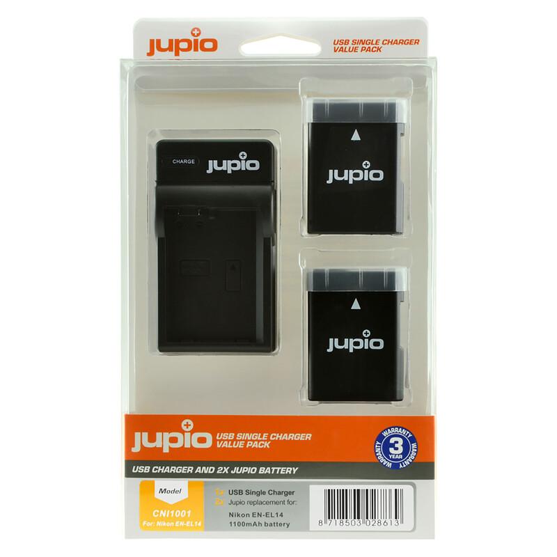 Jupio USB Single Charger + 2x Nik EN-EL14a