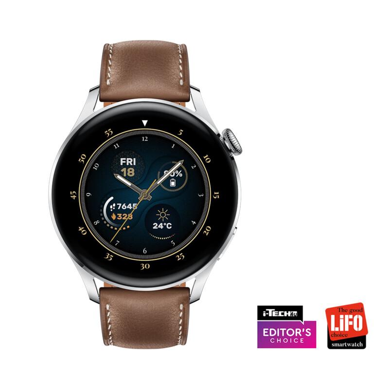 Hua Watch 3 Classic eSim 46mm Leder silber/braun