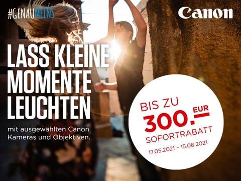 sommerliche Straßenszene mit tanzendem Paar plus Info zu Canon Sommer Promo Sofortrabatt