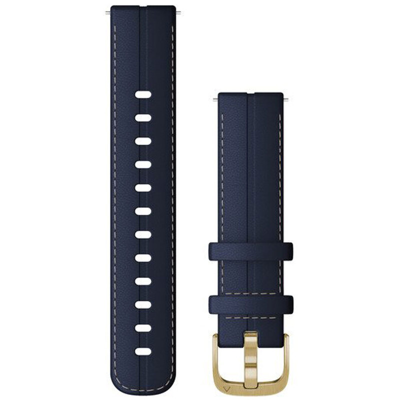 Garmin Band 18mm Leder Marineblau Weißgold
