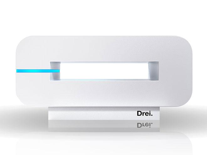 WLAN-Router Neo von Drei vor weißem Hintergrund