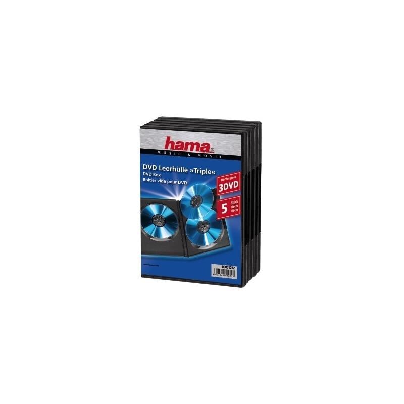 Hama 51272 DVD-Leerhülle Triple Box 5-er Pack schwarz
