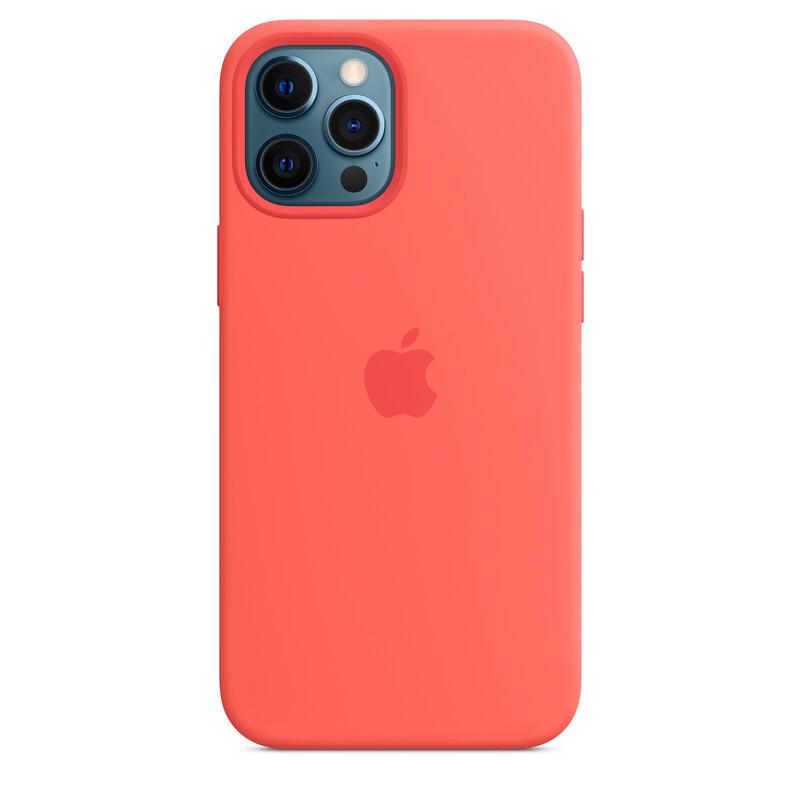 Apple iPhone 12 Pro Max Silikon Case mit MagSafe zitruspink