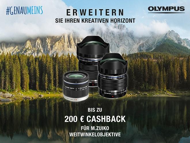 drei Olympus-Objektive samt Cashback-Info vor einem idyllischen Natur-Hintergrund