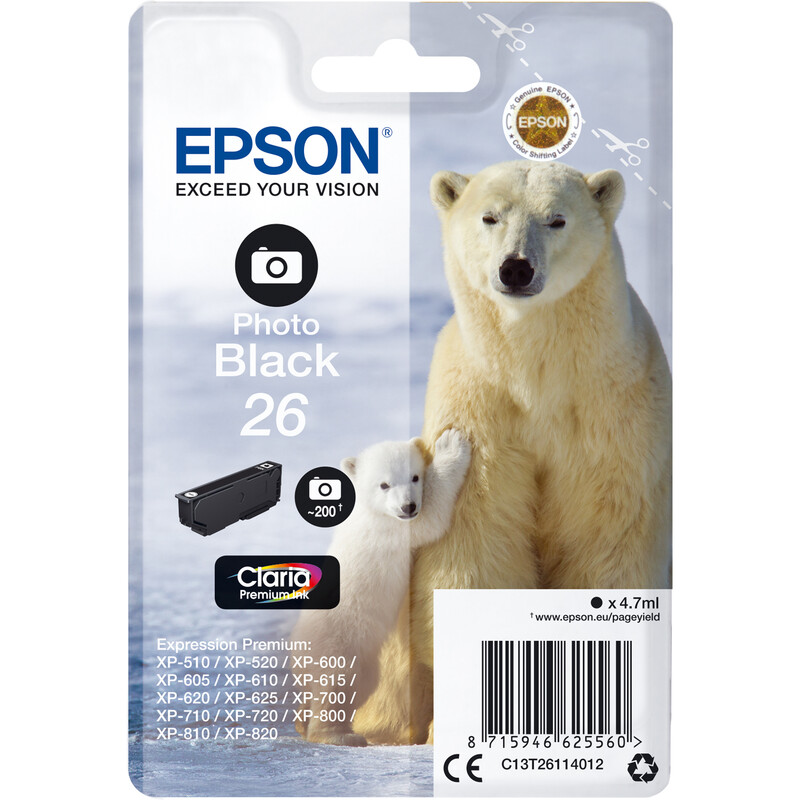 Epson 26 T2611 Tinte Photo Black 4,7ml