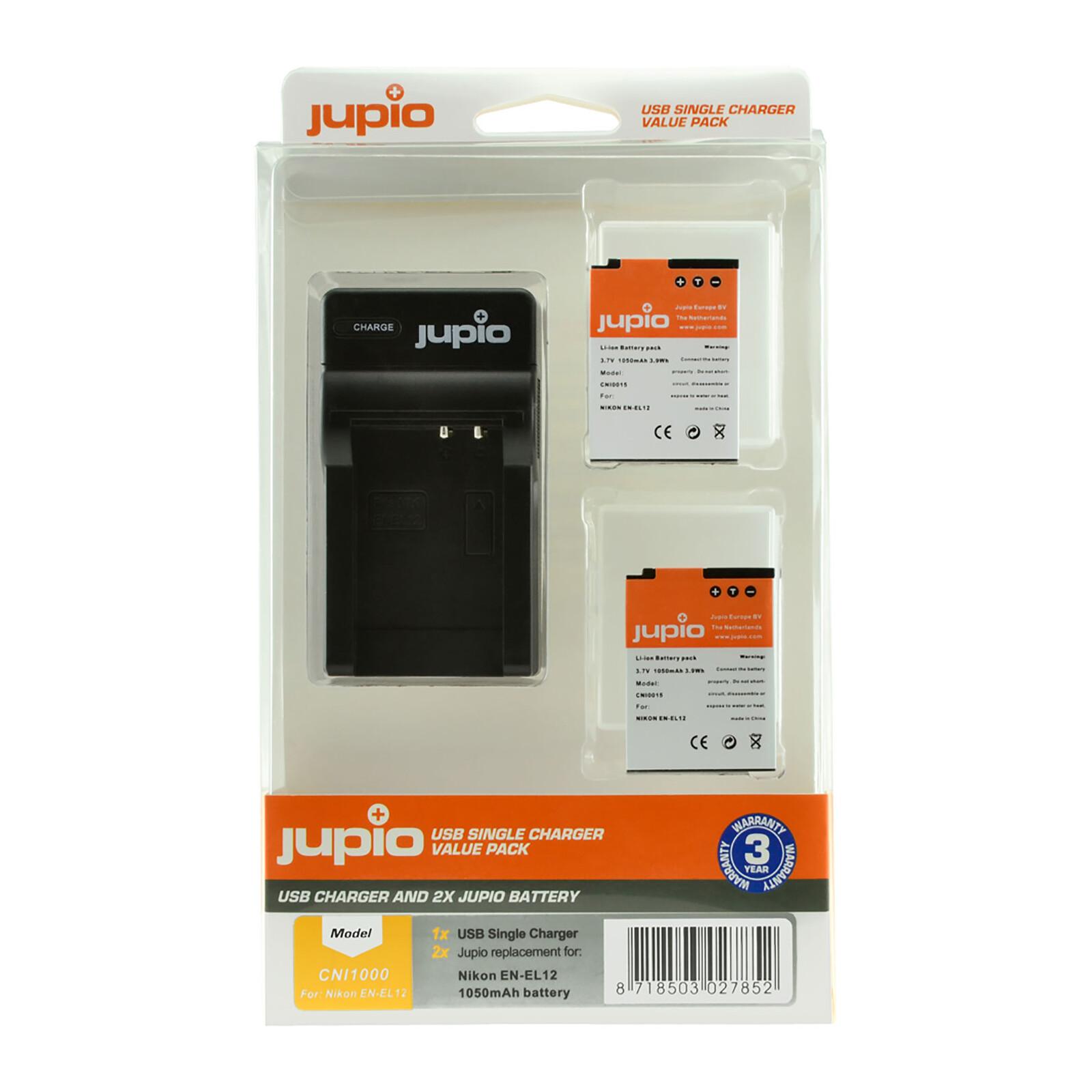 Jupio USB Single Charger + 2x Nik EN-EL12