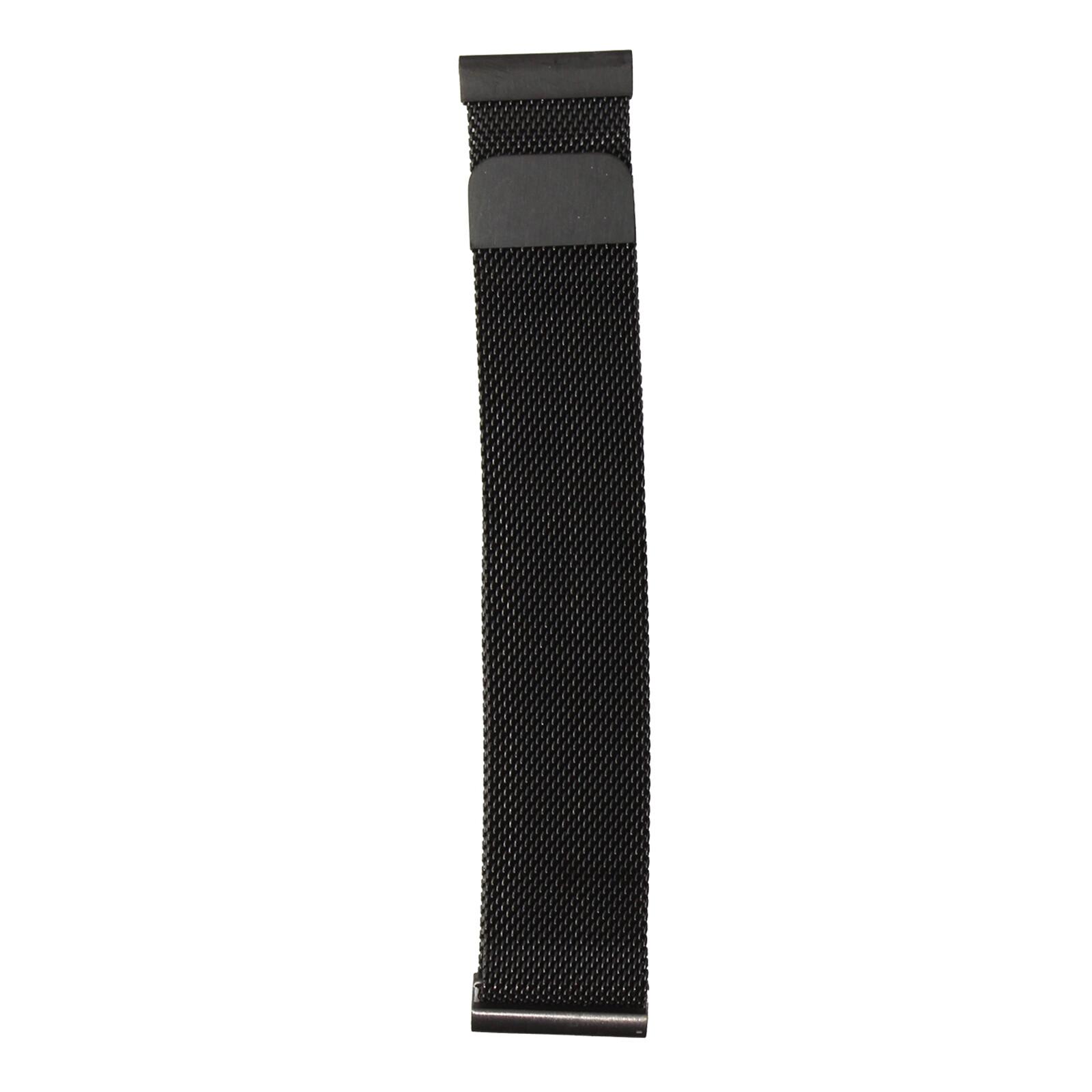 Mika Uhrenarmband Uni 22mm Edelstahl Milanaise schwarz