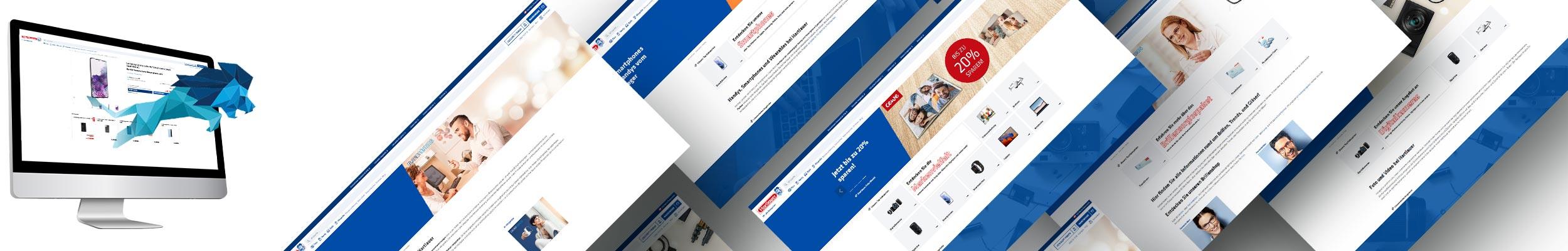 """""""Löwe springt aus einem PC Screen, der die neue Hartlauer Website zeigt"""""""