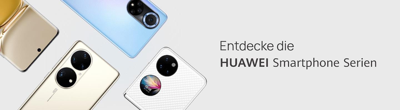 Huawei Smaprthones auf hellrosa Hintergrund mit Werbe-Schriftzug
